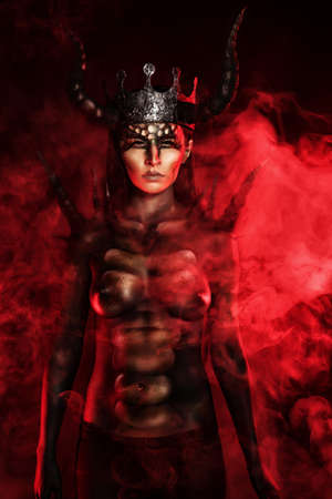 female devil: Beautiful and scary devil woman