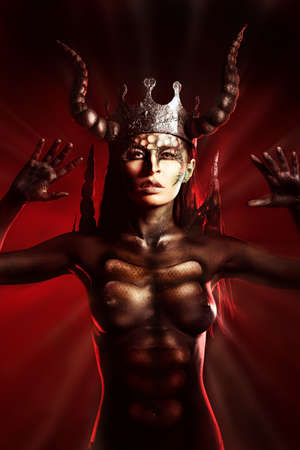 Beautiful and scary devil woman photo