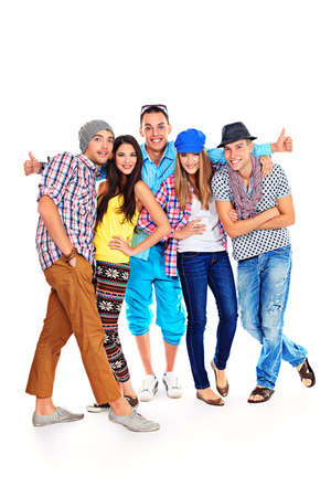group of young adults: A large group of young people standing together. Friendship. Isolated over white.