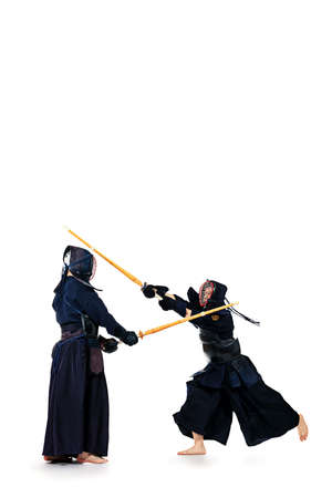 Two kendo fighters are fighting with each other. Asian martial arts. Stock Photo
