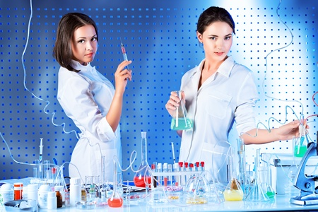 Laboratory staff in the working process. Laboratory equipment. Stock Photo - 21364145