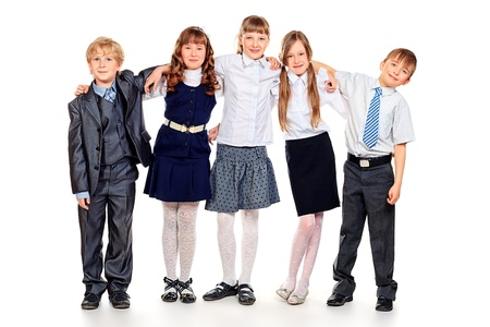 Gruppe von glücklichen Studenten stehend zusammen. Bildung. Isolierte über weißem Hintergrund. Standard-Bild - 21613880