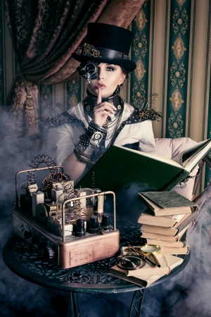 Portrait of a beautiful steampunk woman over vintage background. Stok Fotoğraf