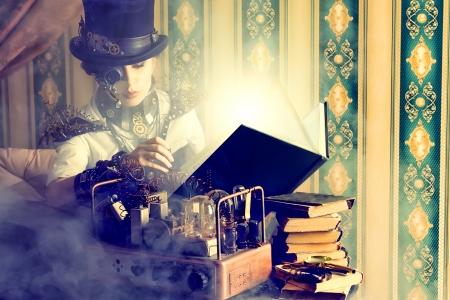 Porträt einer schönen Steampunk-Frau über Vintage Hintergrund. Standard-Bild - 23199857