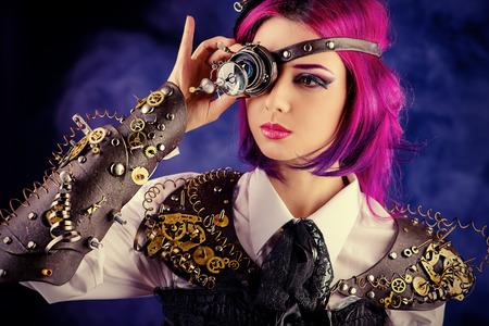 Girl in a stylized steam punk costume posing on a dark . Anime.