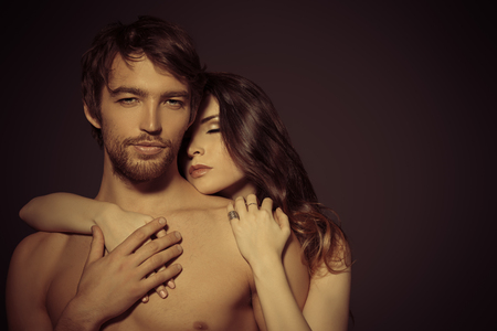 nude lady: Beautiful passionate naked couple in love.