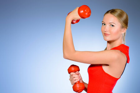 slender woman: Young slender woman goes in for sports  Active lifestyle