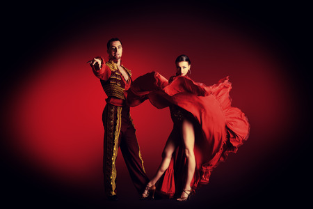 Professional dancers perform latino dance. Passion and expression.
