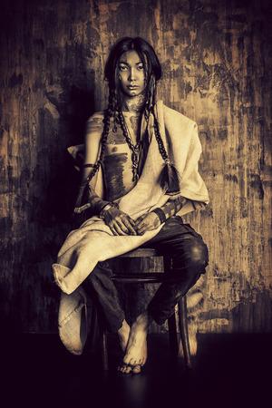 Art portrait of the American Indian. Ethnicity. Historical reconstruction.  Archivio Fotografico