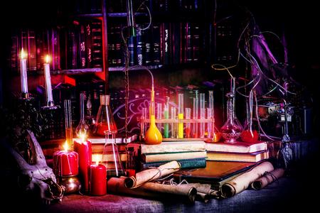 Medieval alchemist laboratory. Halloween. Fairy-tale interior. Foto de archivo