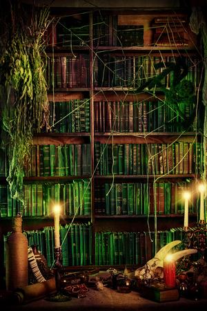 Witch's lair. Magic decoration. Alchemy. Halloween. 스톡 콘텐츠