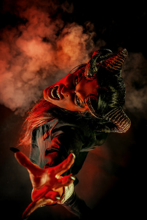 Portrait of a devil with horns. Fantasy. Art project. Foto de archivo