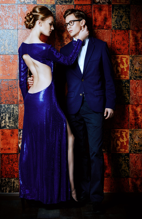 Beautiful gorgeous couple in elegant evening dresses. Fashion, glamour. Stock Photo