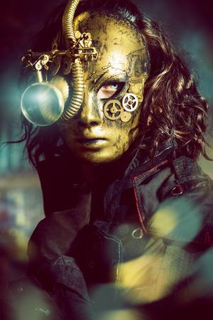다양 한 기계 장치와 마스크를 쓰고 steampunk 남자. 공상.