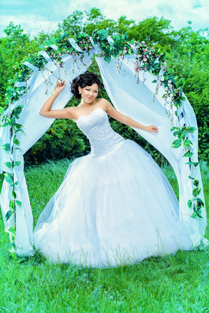 Beautiful Elegant Asian Bride Stands Under The Wedding Arch... Stock ...