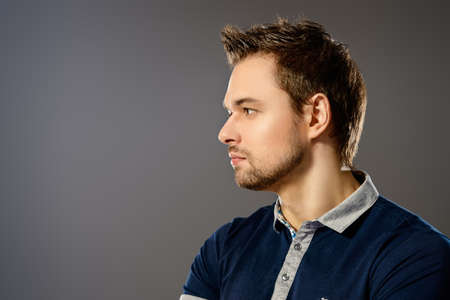Profile portrait of a handsome young man. Mens beauty. Stock Photo