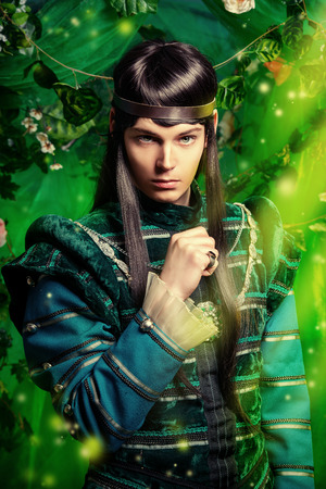 Beautiful male elf in the magic forest. Fantasy. Fairy tale, magic.