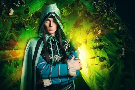 마법의 숲에있는 고귀한 요정 엘프. 공상. 동화, 마술.