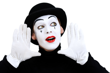 Portrait of a male mime artist. Isolated over white. Zdjęcie Seryjne