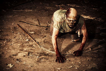 Horrible scary zombie man on the ruins of an old house. Horror. Halloween. Imagens - 42284676