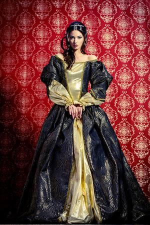 빈티지 배경 위에 포즈 무성한 비싼 드레스에 아름 다운 젊은 아가씨의 전체 길이 초상화. 르네상스. 바로코. 유행.