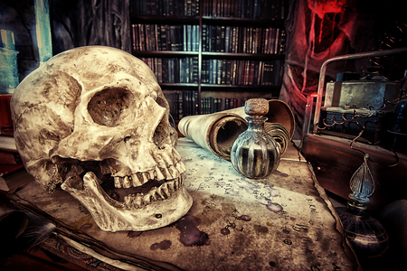 Medieval alchemist laboratory. Halloween. Fairy-tale interior. Imagens
