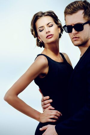 Portrait of a beautiful man and woman. Beauty, fashion. Love concept.