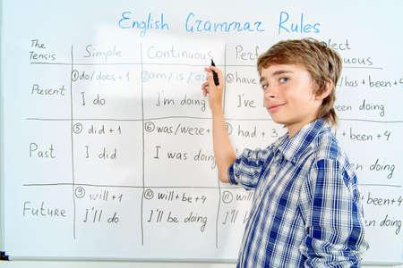 Student Junge antwortet auf die Grammatiklektion. Bildung, High School, College.