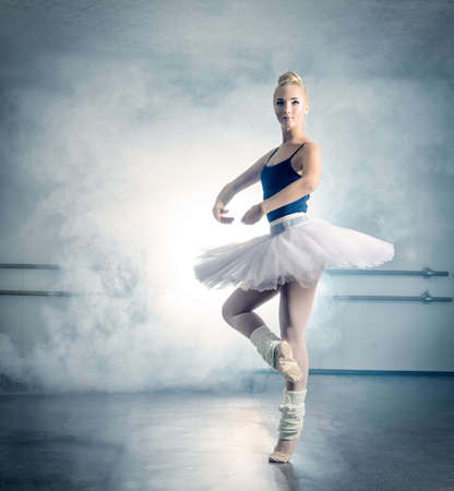 Art concept. Beautiful ballerina dancing in ballet class.