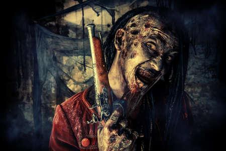 Horror roman karakter. Agressief boos piraat, opgestaan uit de dood. Halloween.