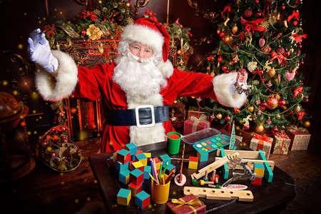 Workshop Of Santa Claus. Portrait Of Santa Claus Making Christmas ...