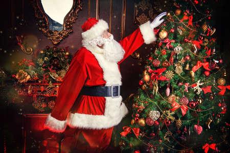 santa claus next to a beautiful ornate christmas tree santa claus dress up the christmas - Christmas Dress Up