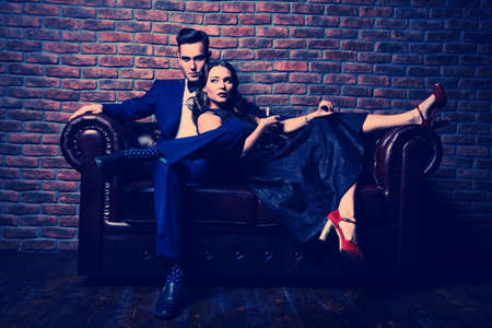Beautiful gorgeous couple in elegant evening dresses. Fashion, glamour. Stockfoto