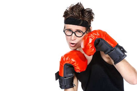 Funny skinny boxer man. Sports and health concept. Isolated over white background. Stock Photo