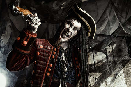 Horror novel character. Aggressive angry pirate, risen from the dead. Halloween.
