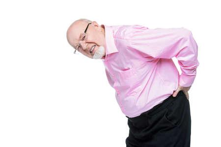 노인은 등을 손에 든다. 허리가 아파요, radiculitis. 노인들을위한 건강 관리. 스톡 콘텐츠