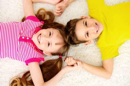 Portrait of happy joyful children at home. Family concept. Zdjęcie Seryjne