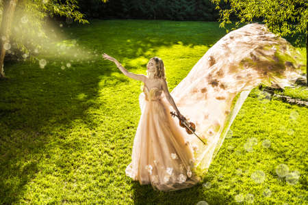 Beautiful fairy girl playing the violin on a sunny glade in the park. Musical concept. Classical music, violin. Фото со стока - 85186004