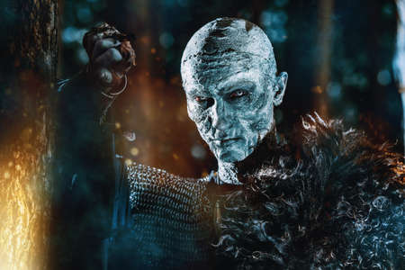 Zombie warrior in knightly armor stands in the night forest. Fantasy horror film. Halloween. Stock Photo