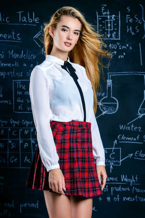 Pretty student girl with long blonde hair posing in school clothes by the chalkboard. Stock Photo