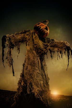 Porträt einer gruseligen Jack-Laterne mit einem Kürbis auf dem Kopf. Halloween-Legende. Standard-Bild - 87870694