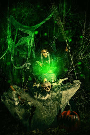 Fairy tales on Halloween. A terrible ugly witch cast spells in a magical book and cooks a potion in a dense forest.