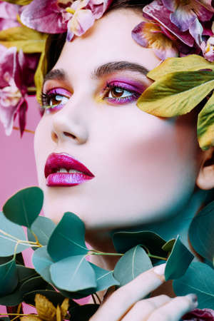 Sensual spring lady in a wreath of flowers. Inspiration of spring and summer. Perfume, cosmetics concept. Stock fotó