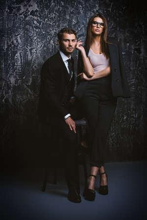 Beautiful gorgeous couple in elegant evening dresses. Fashion, glamour. Stock Photo