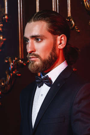 Portrait of a well-dressed imposing man in elegant suit posing in apartments with luxurious classic interior. Mens beauty, fashion. Hair styling, barbershop.  Stock Photo