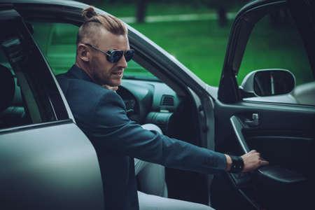 Mature man driving a car. Vehicle concept.  Stockfoto