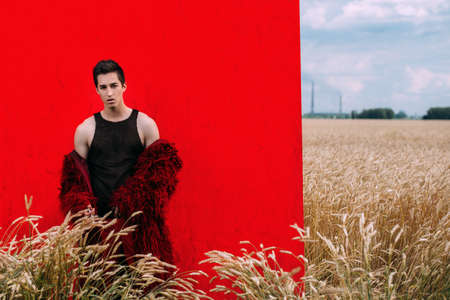 Fashion shot of a professional handsome male model in long red fur coat posing in a wheat field. Archivio Fotografico - 101136800