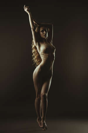 Nude girl posing on a black background. Female nude silhouette. Young sexy woman with long curly hair.