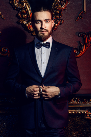 Portrait of a well-dressed imposing man in elegant suit posing in apartments with luxurious classic interior. Men's beauty, fashion. Hair styling, barbershop. Foto de archivo