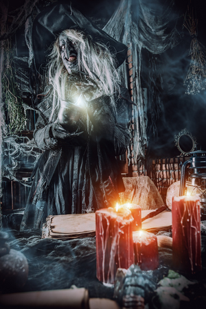 Prepering some evil. Halloween concept. Horror film. Stock Photo
